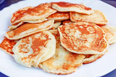 Fresh pretty homemade pancakes for comfort cozy breakfast Stock Photo