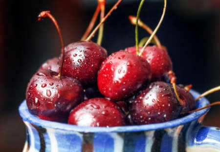 Pretty fresh ripe sweet cherry in drops