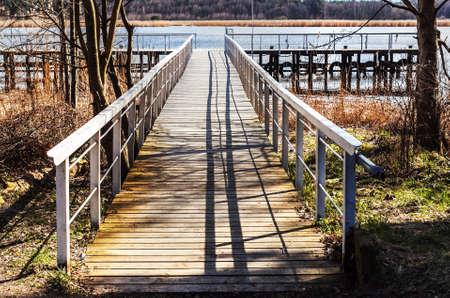 Bridge to river in Jurmala at sunny day