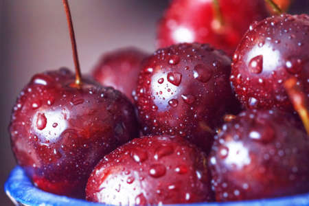 Ripe pretty cherry with water drops close-up