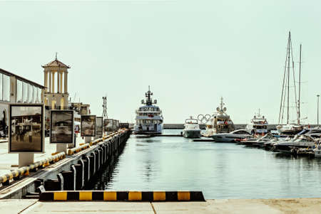 Septemer 28, 2015, - Sochi, Russia: yachts in port of Sochi at sunny day