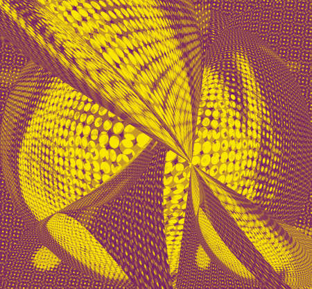 Crew original geometric abstraction of yellow and maroon