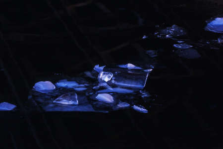 Beautiful real light blue ices in dark water