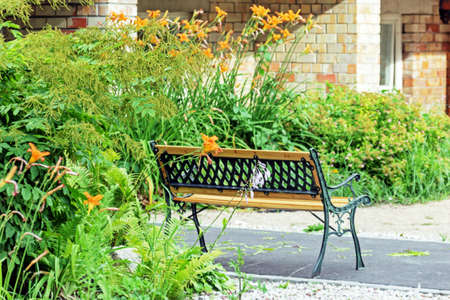 Pretty bench near house among flowers at summer day