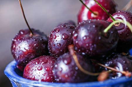 Fresh tasty ripe sweet cherry berries close-up Stock Photo