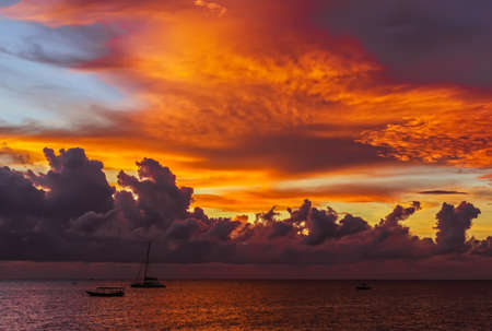 Great real nice red, orange and blue sunset sky over ocean