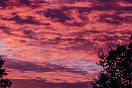 Real purple clouds of sunset sky for romantic and happy mood Standard-Bild
