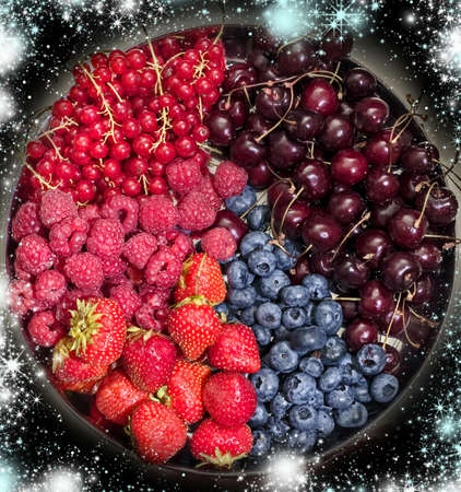 Crew planet of berries in future universe like symbol of high imagination