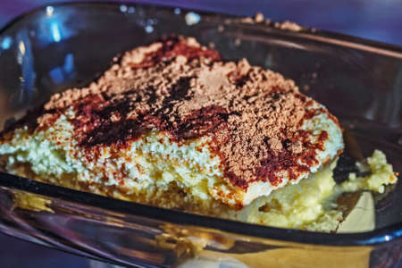 Tasty fresh homemade tiramisu cake for cozy and best atmosphere