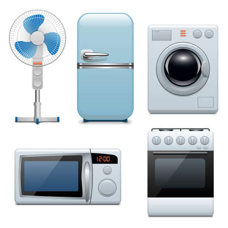 frig: Vector household appliances icons Illustration