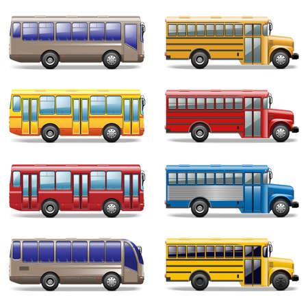 viagem: Vector ícones de ônibus Ilustração