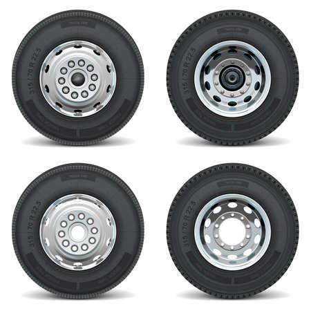 lorry: Vector camion di pneumatici icone Vettoriali