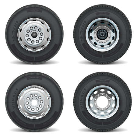 tyre tread: Vector truck tire icons