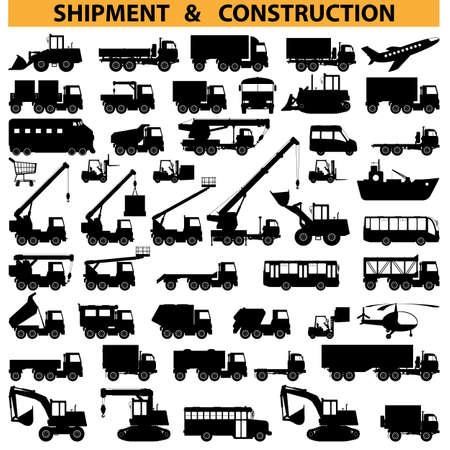 teherautók: haszongépjárművek piktogramok Illusztráció