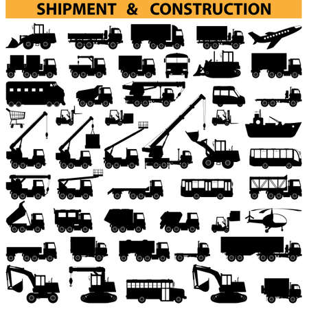 camion grua: vehículos comerciales pictogramas Vectores