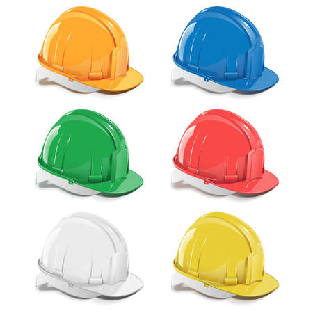 safety at work: Vector helmet icons