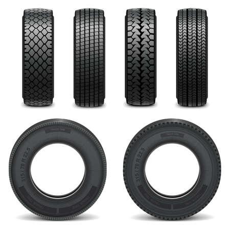 lorries: Vector icone di pneumatici Vettoriali