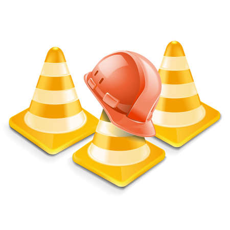 traffic cones: Vector traffic cones with helm