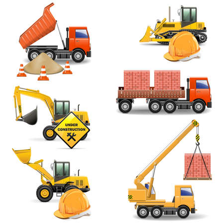 mining ship: Vector Construction Machines Set 4