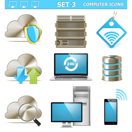 data backup: Vector Computer Icons Set 3