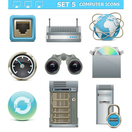 ethernet: Vector Computer Icons Set 5
