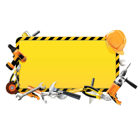 Vector Construction Frame with Tools Иллюстрация