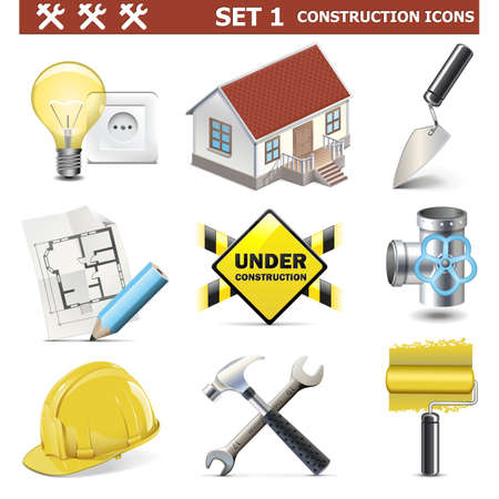 house under construction: Vector Construction Icons Set 1