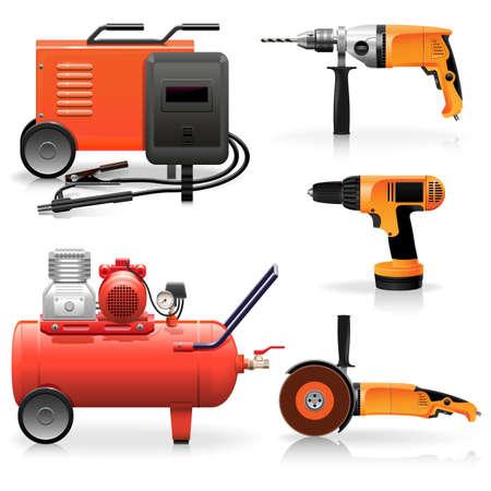compresor: Vector Herramientas Eléctricas Icons