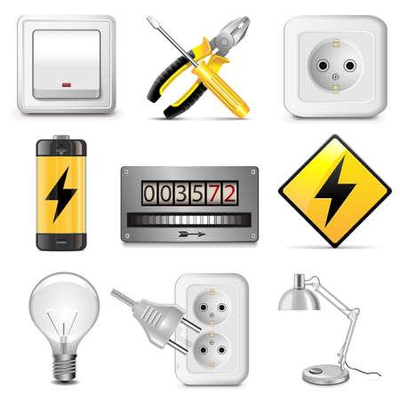 enchufe de luz: Electrodomésticos iconos vectoriales