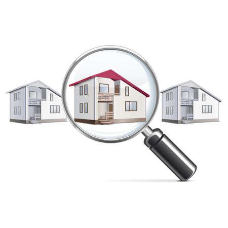 housing search: Vector Casa con lente Vettoriali