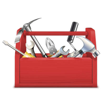 pliers: Vector Red Toolbox Illustration
