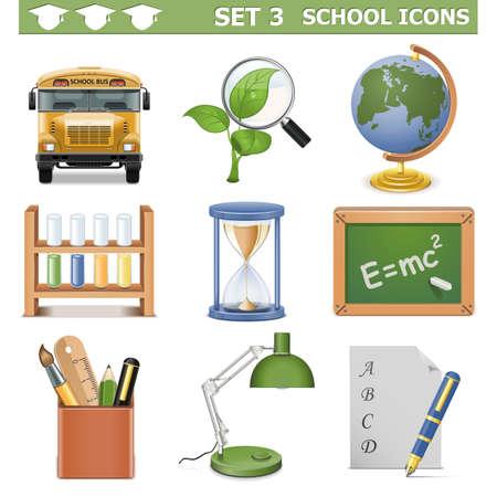 lens brush: Vector School Icons Set 3