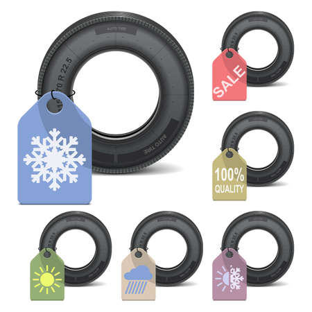 winter car: Vector Season Tire Sale