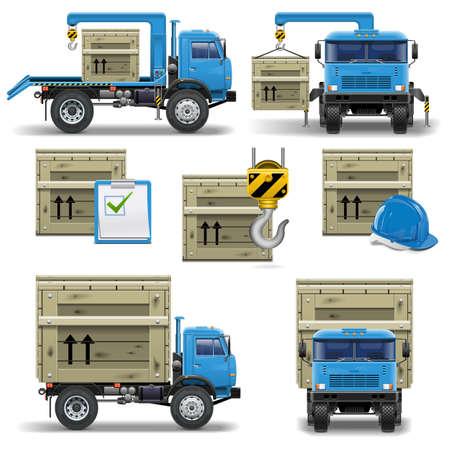camion grua: Envío Iconos fijados 7 Vectores