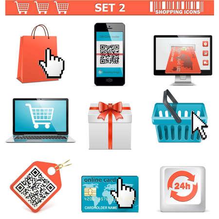 qr code: Vector shopping  icons set 2