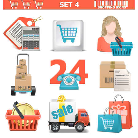 Vector Shopping Icons Set 4 Vector