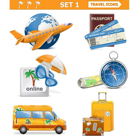 Vector travel icons set 1 Vector