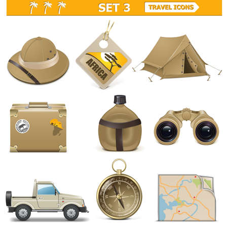 africa safari: Vector travel icons set 3