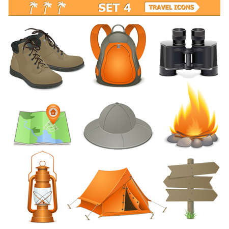 campsite: Vector travel icons set 4 Illustration