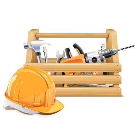 ベクトル木製のツールボックス  イラスト・ベクター素材