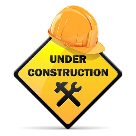 construction icon: Vector Under Construction Sign with Helmet