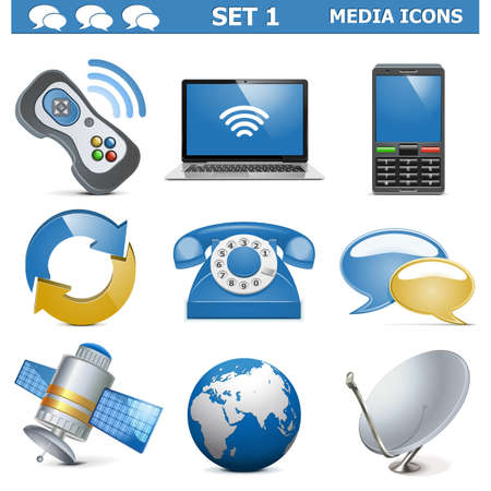 antena parabolica: Vectorial Media Icons Set 1