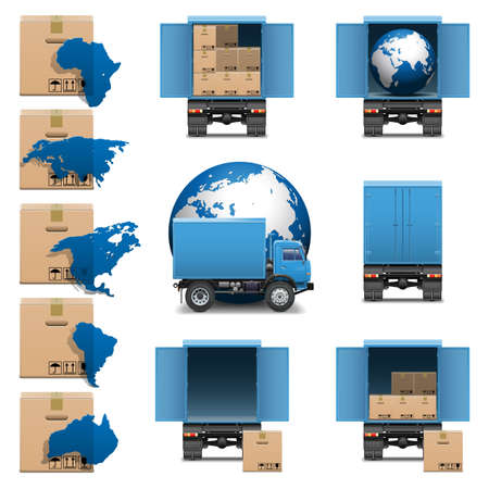 Vector Shipment Trucks Icons set 3
