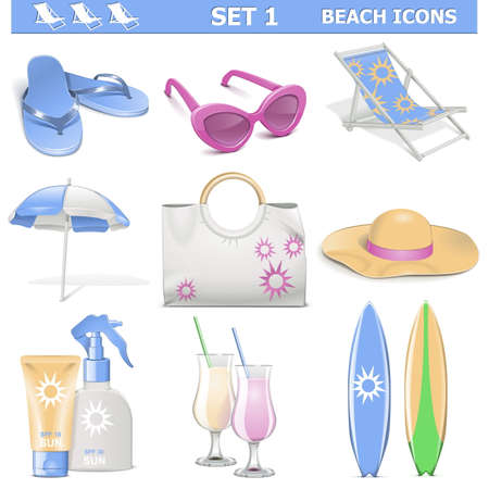sunscreen: Vector Beach Icons Set 1