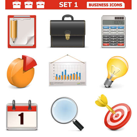 achieved: Vector Business Icons Set 1 Illustration