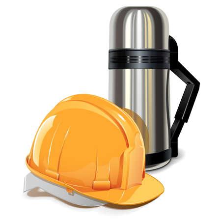 metal worker: Vector flask with Helmet Illustration