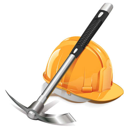 mining icons: Vector Pickaxe with Helmet