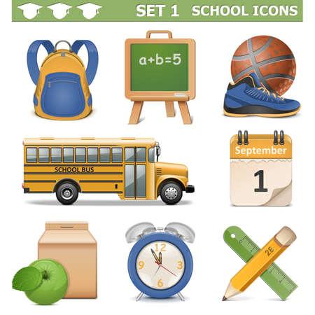 calendario escolar: School Icons Vector Set 1