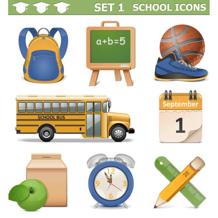 school backpack: Vector School Icons Set 1