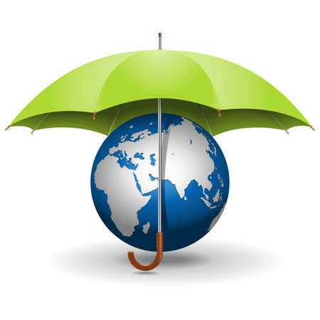 Vector Umbrella and Globe Çizim